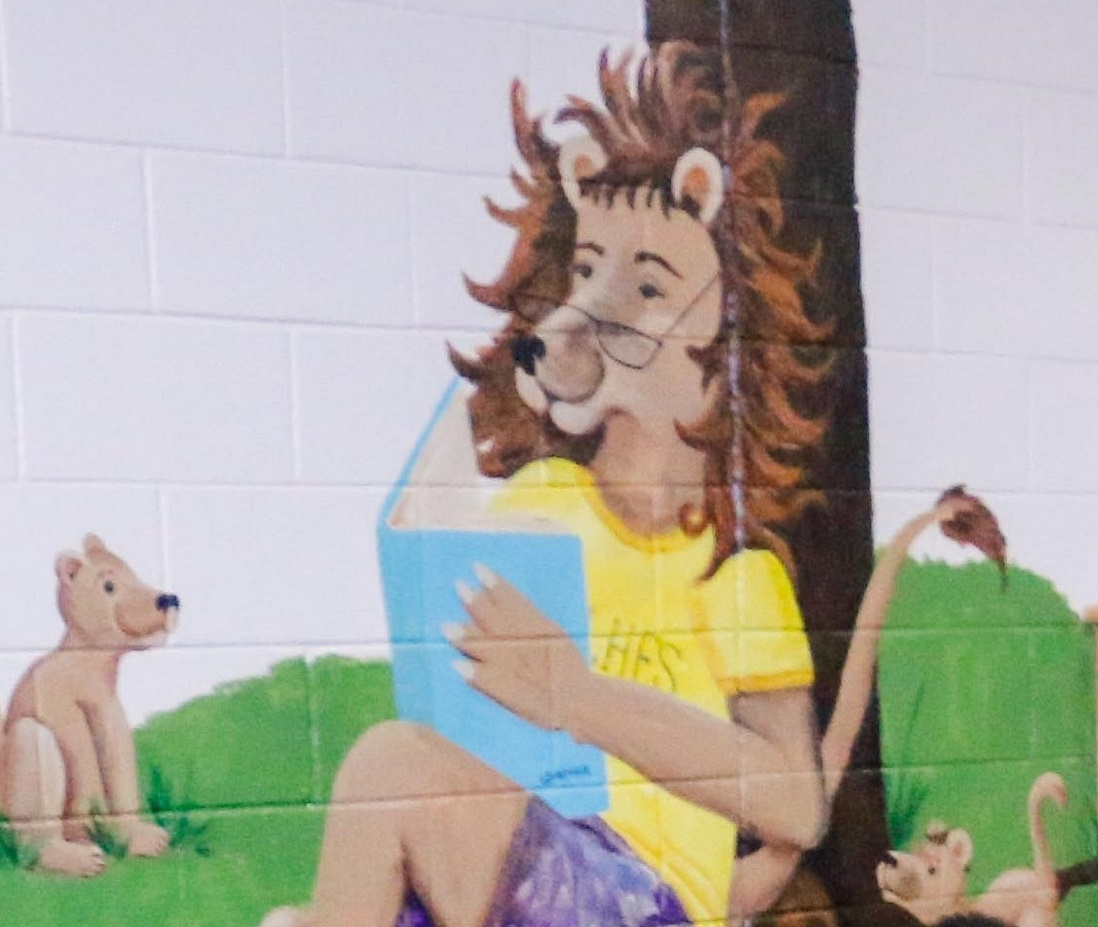 Library Lion mural